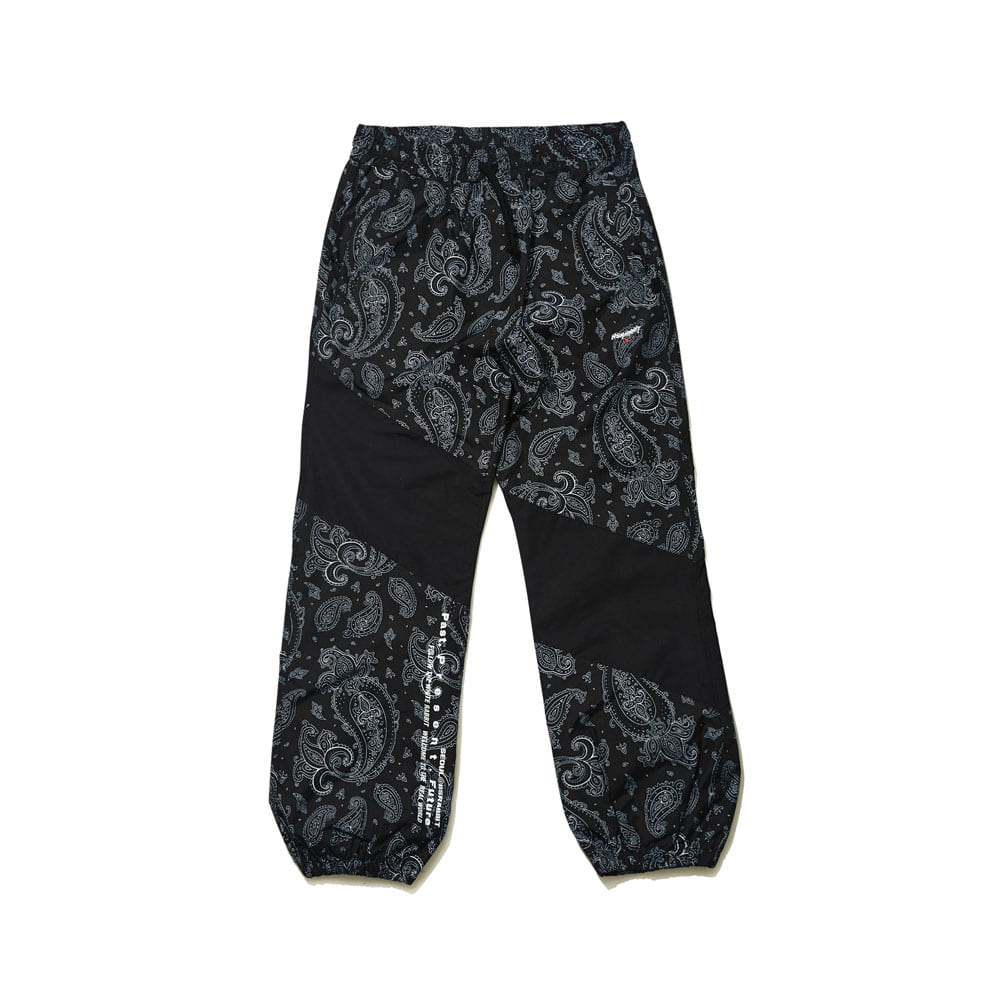 DIAGONAL BOX JOGGER PANTS BLACK PAISLEY