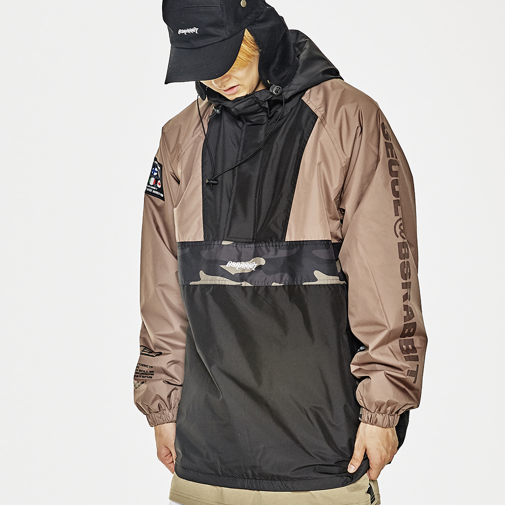 BSR RUN ANORAK KHAKI/BLACK