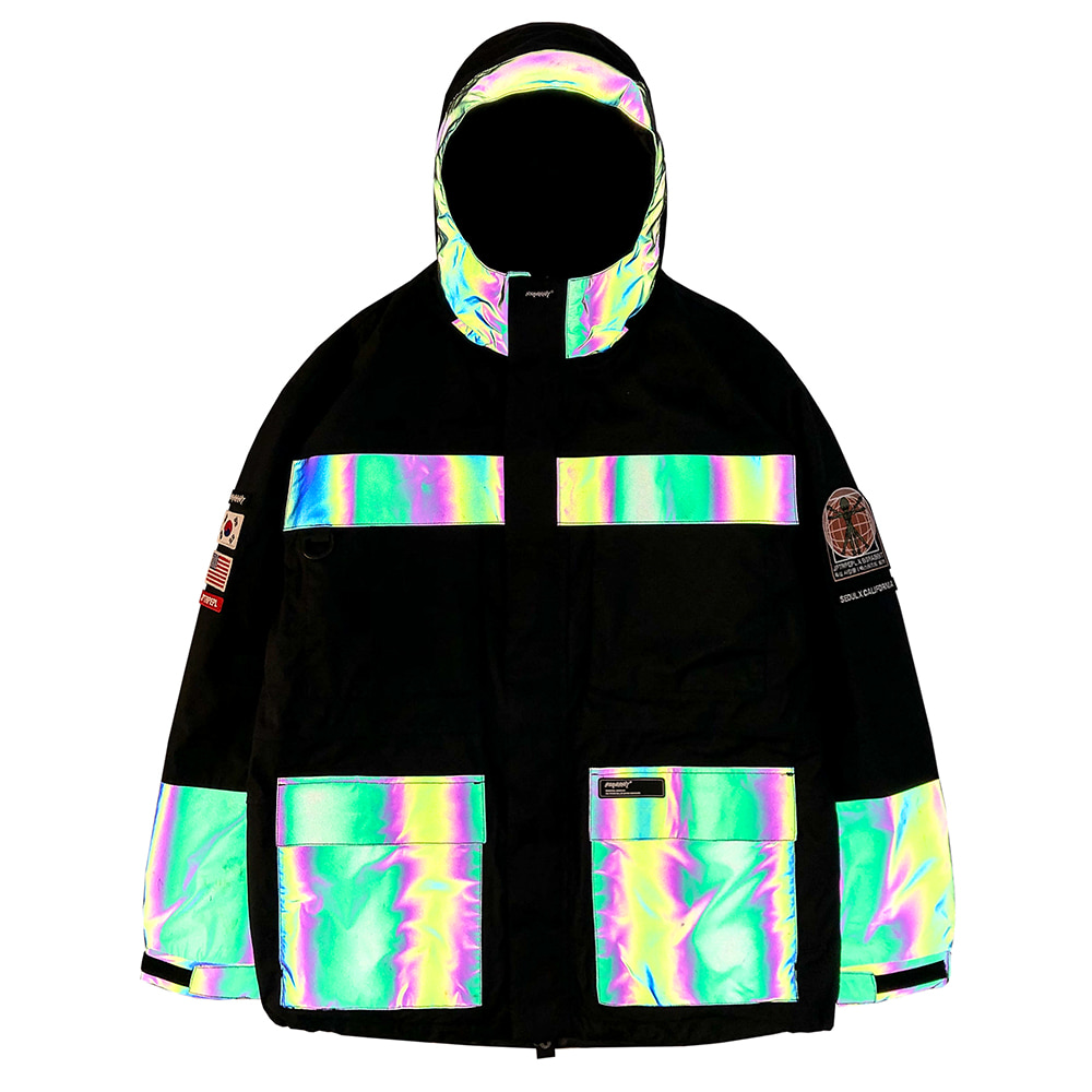 JPXBR MOUNTAIN POW JACKET BLACK WITH RAINBOW REFLECTIVE
