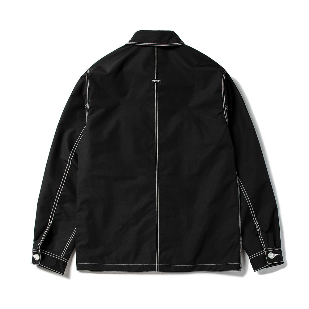 STITCHES BUTTON COACH JACKET BLACK