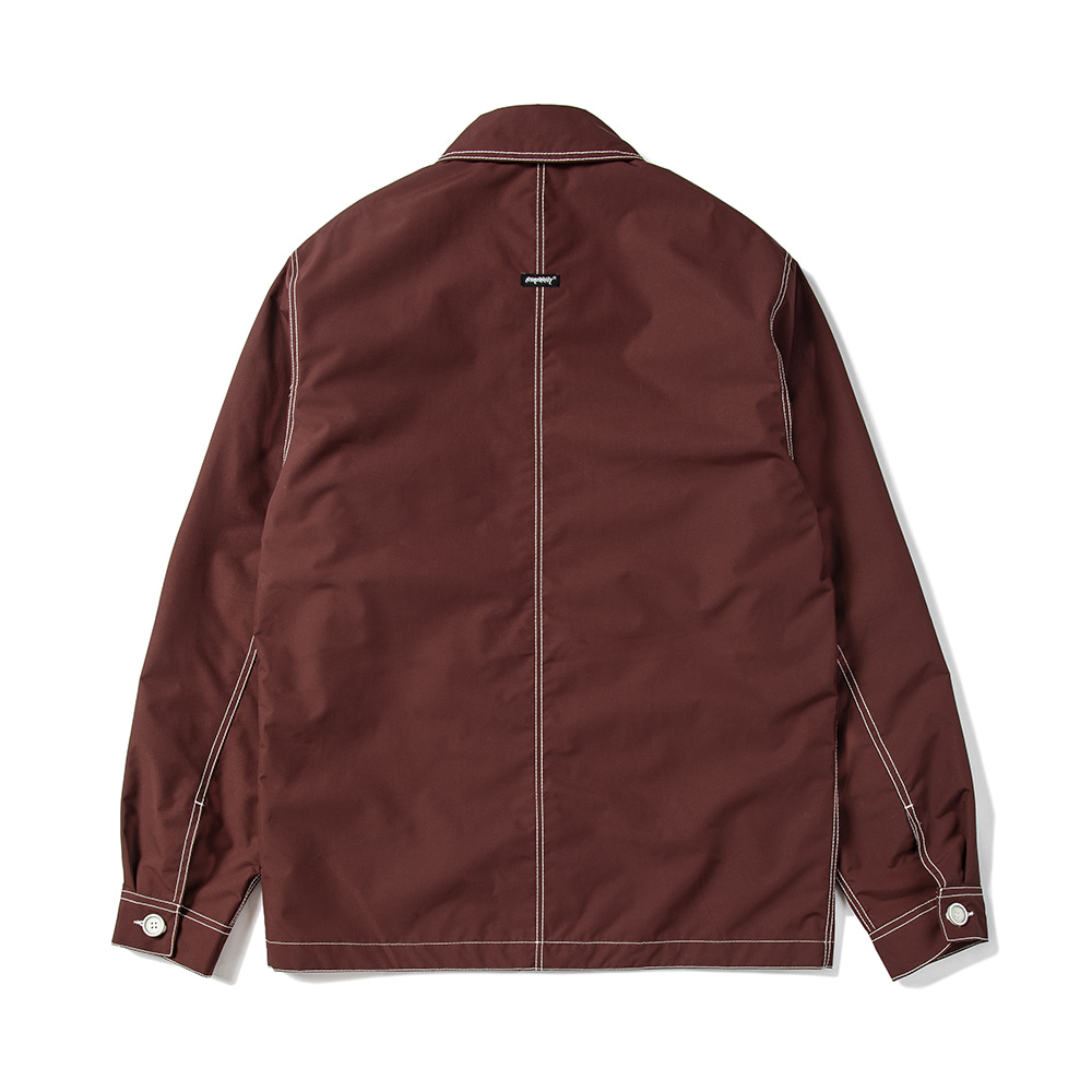 STITCHES BUTTON COACH JACKET BURGUNDY