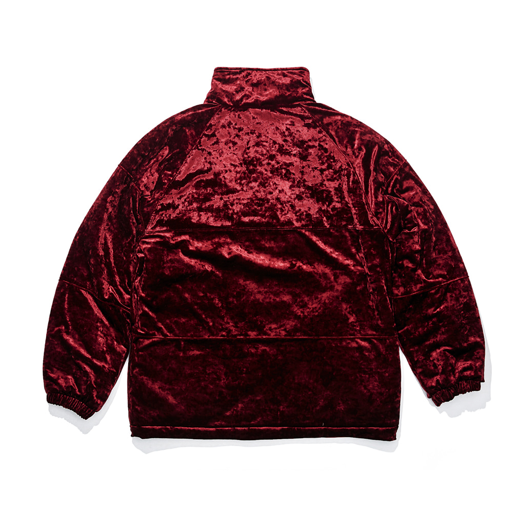 DSXBR BLING VELVET PUFFER JACKET RED