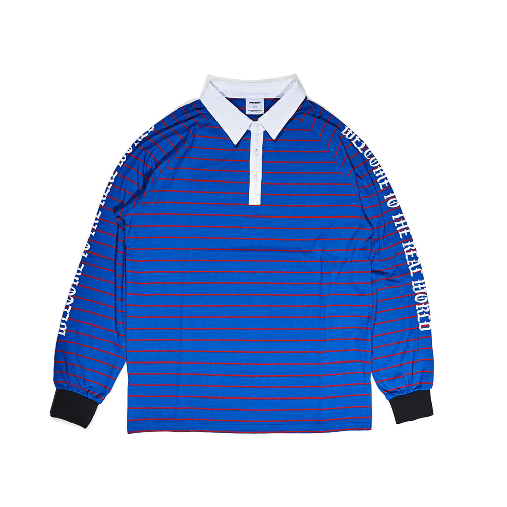 WTTR LONG SLEEVE PIQUE STRIPE BLUE