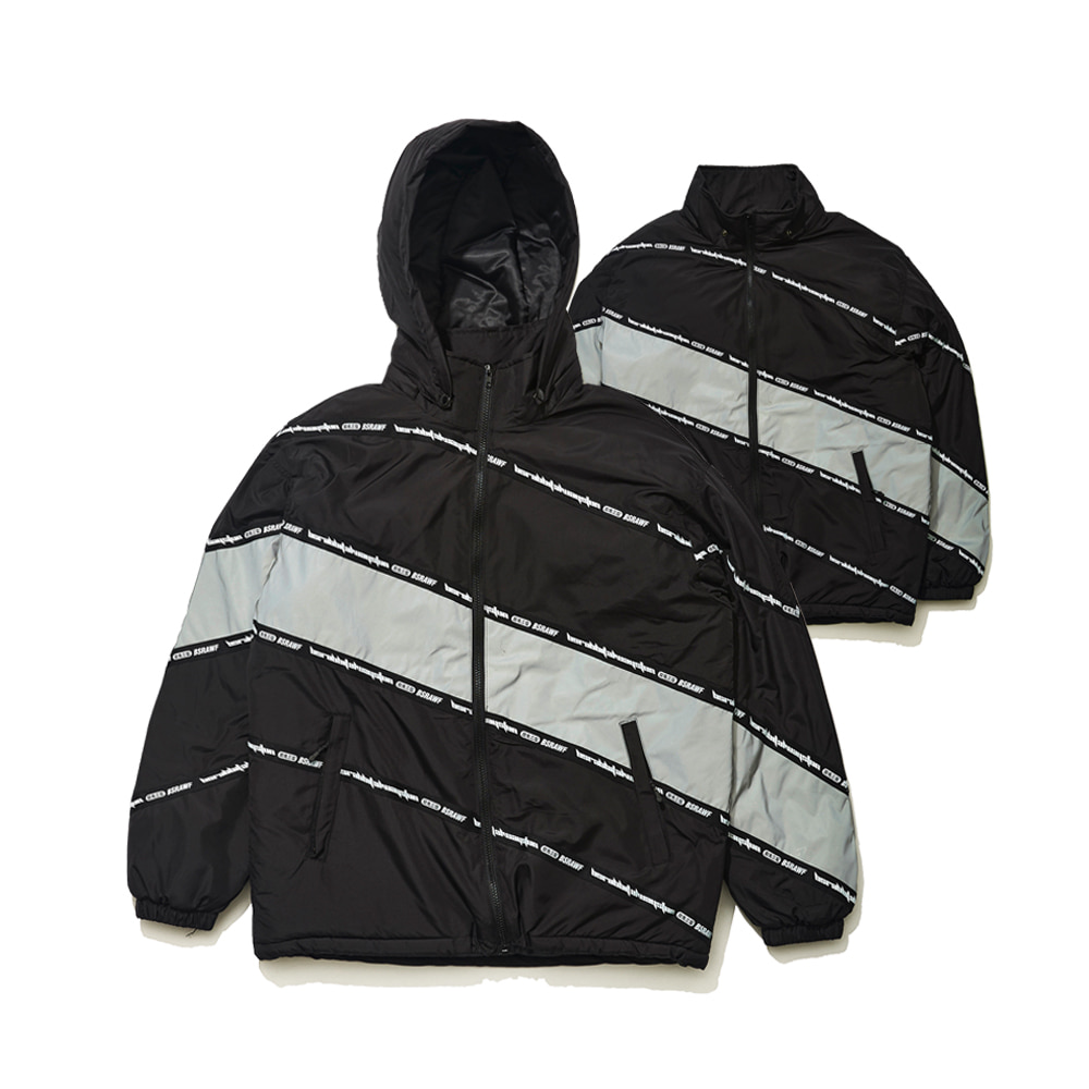 DIAGONAL LINE PADDING JACKET BLACK