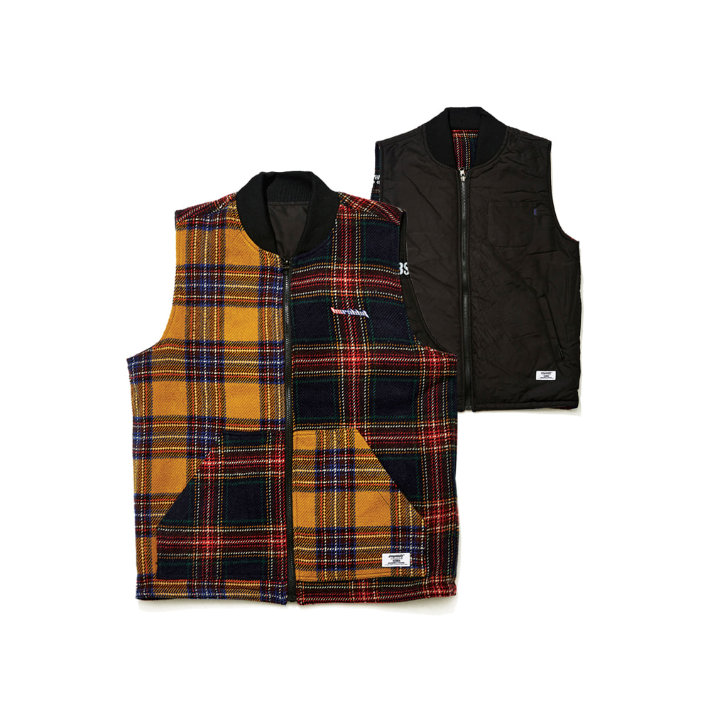 ULTIMATE REVERSIBLE VEST BLACK/MIX CHECK