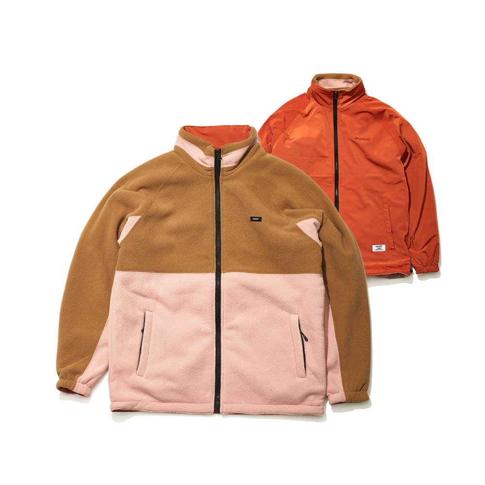 TOASTY FLEECE REVERSIBLE JACKET BEIGE/CHERRY RED