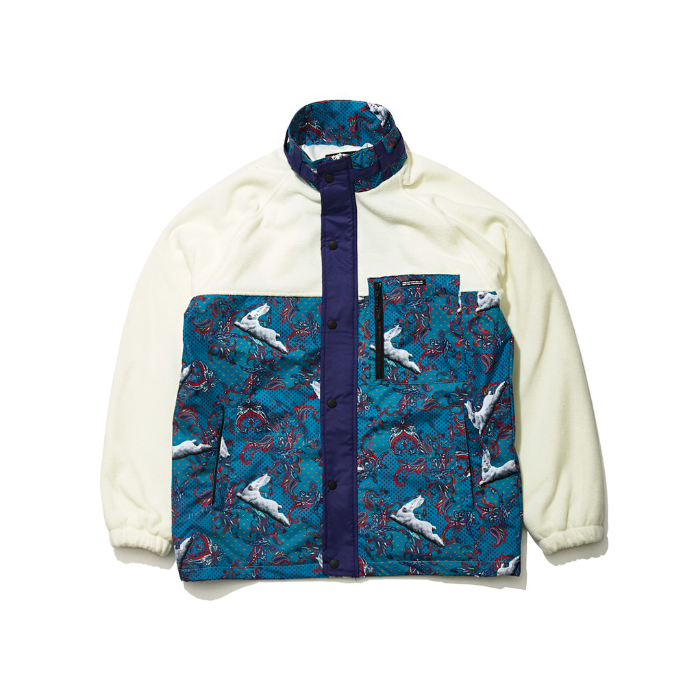 SENSUAL FLEECE JACKET WHITE/MINT PAISLEY
