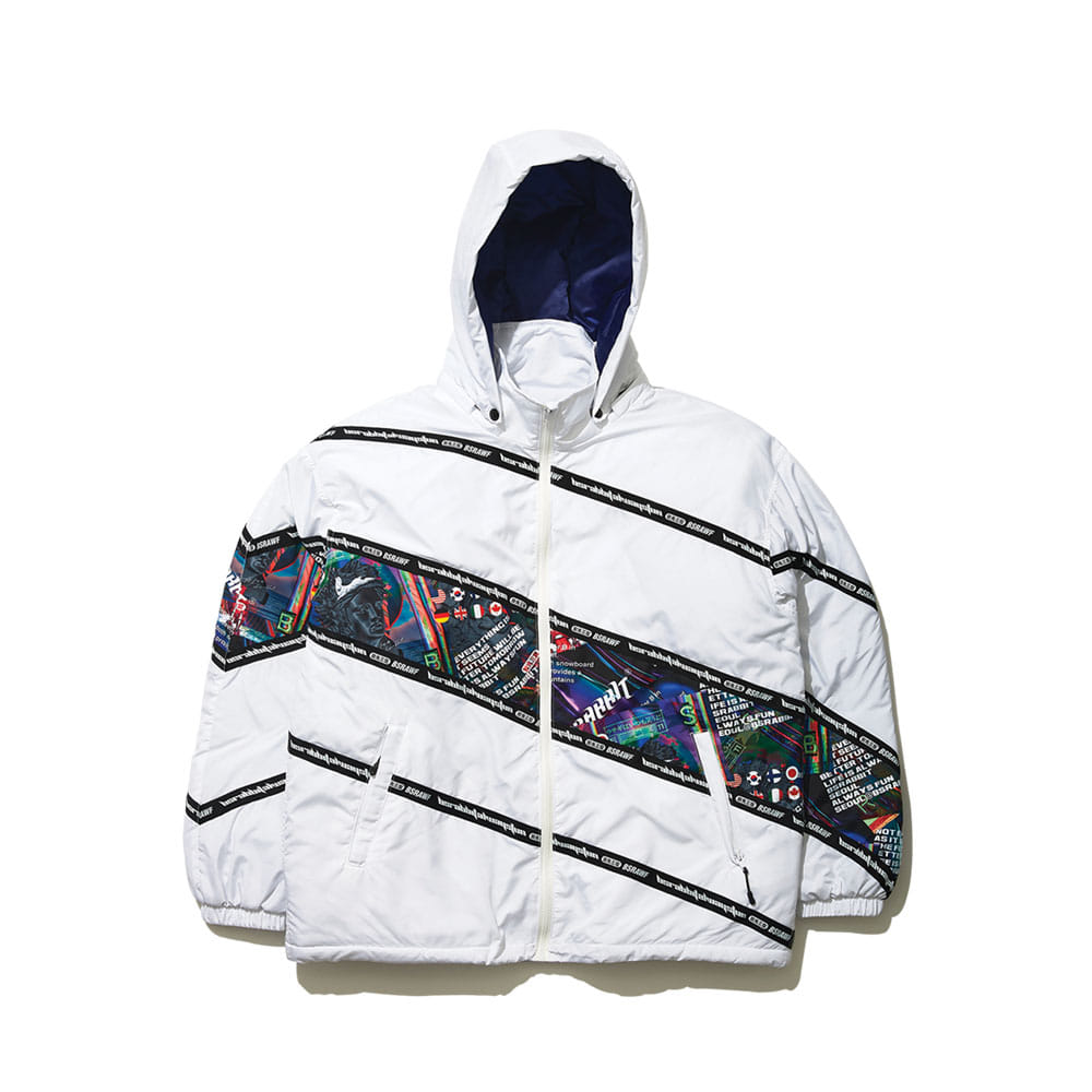 DIAGONAL LINE PADDING JACKET WHITE