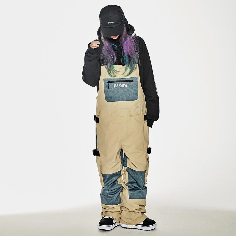 BSR INCREDIBLE CARGO BIB PANTS BEIGE