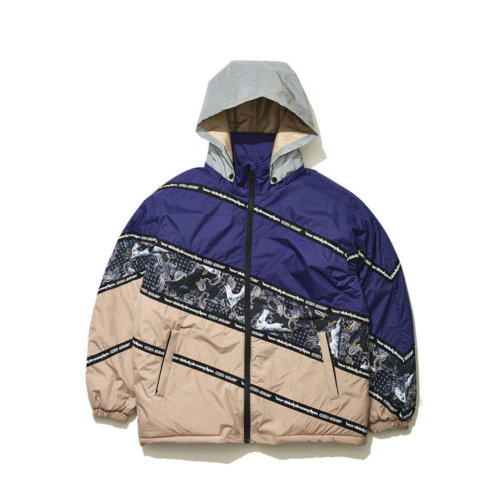 DIAGONAL LINE PADDING JACKET NAVY/BEIGE