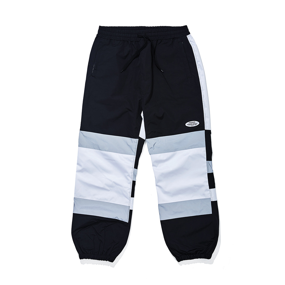 BOX DOUBLE LINE REFLECTIVE JOGGER PANTS BLACK