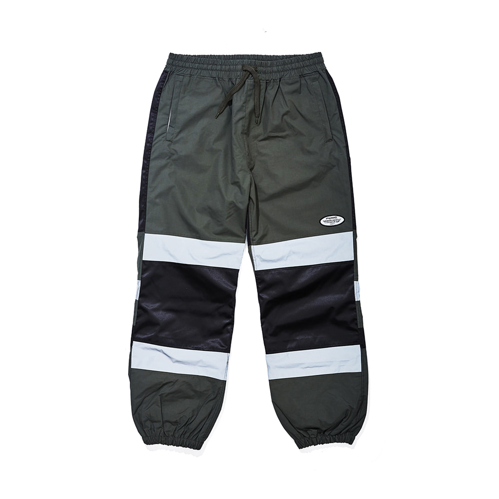 BOX DOUBLE LINE REFLECTIVE JOGGER PANTS KHAKI