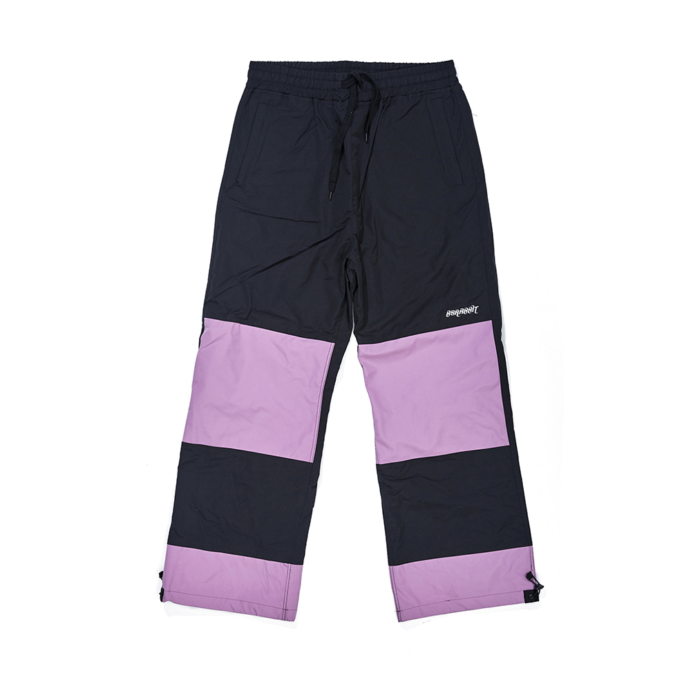 DOUBLE BOX TRACK PANTS BLACK / PASTEL PURPLE