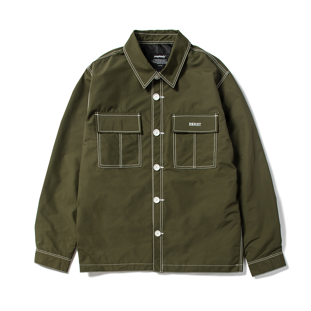 STITCHES BUTTON COACH JACKET KHAKI