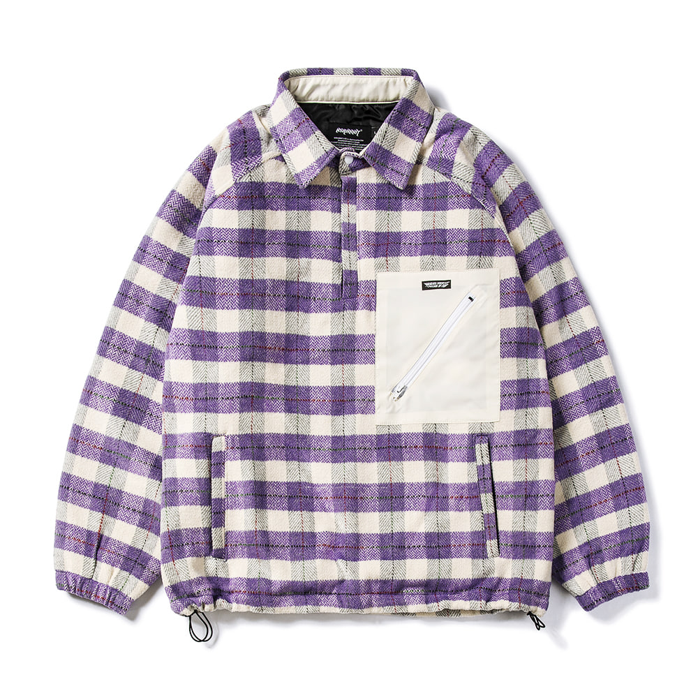 BETTER THAN CHECK ANORAK SHIRT PURPLE CHECK