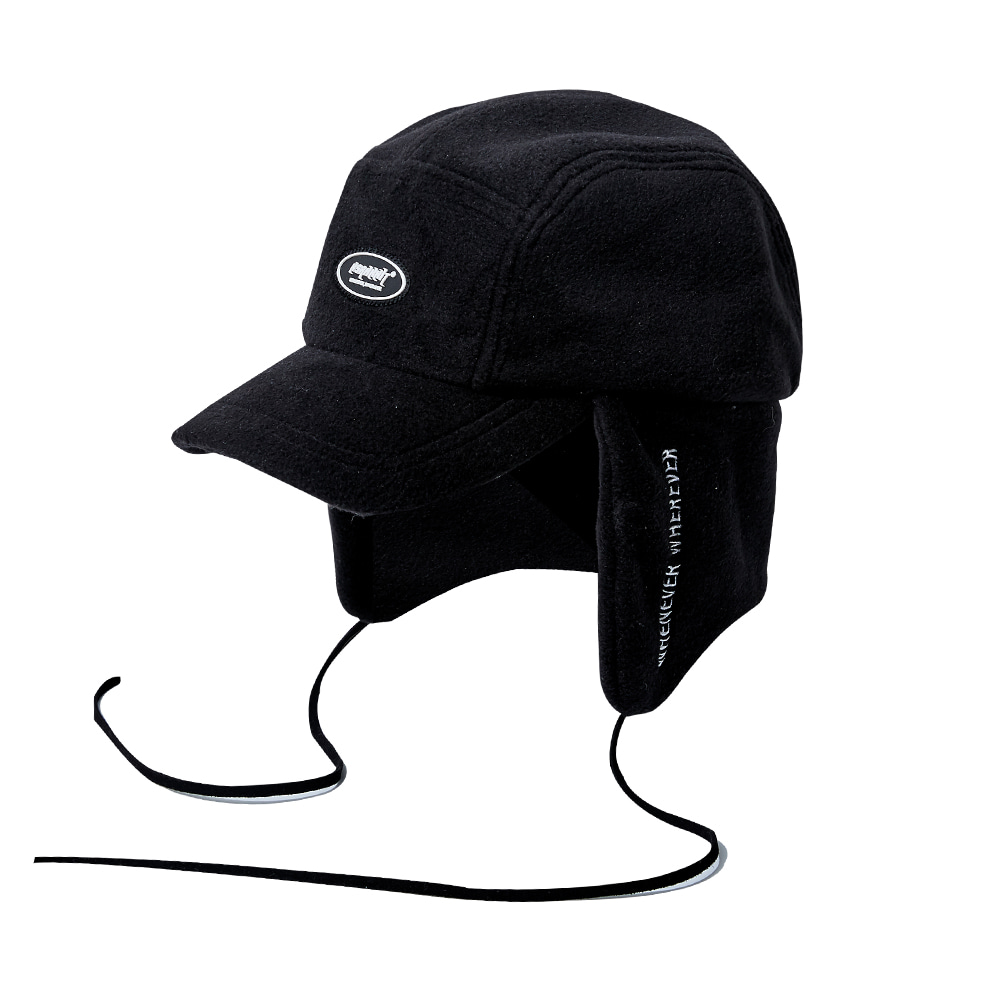 BSW FLEECE EARFLAP CAP BLACK