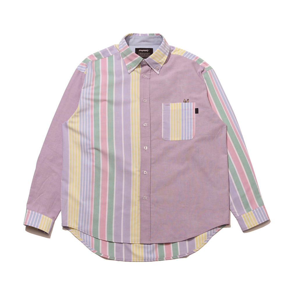BEAR RABBIT STRIPE MIX OVER SHIRT LT.PURPLE