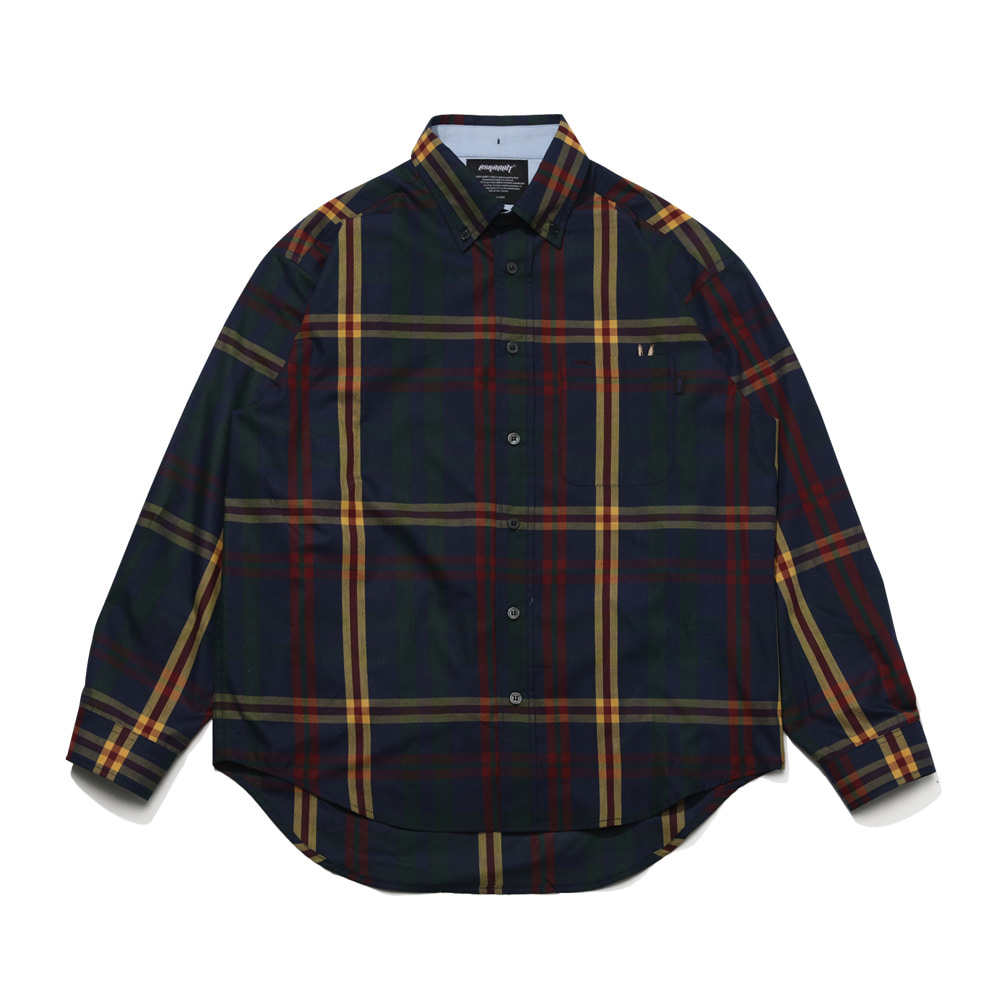 BEAR RABBIT BIG CHECK OVER SHIRT NAVY/YELLOW